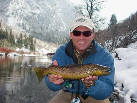 fly fishing trip on the Provo River in winter